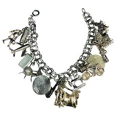 Vintage sterling double link charm bracelet and charms