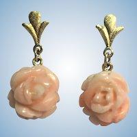 Vintage pink coral rose earrings 14 karat gold