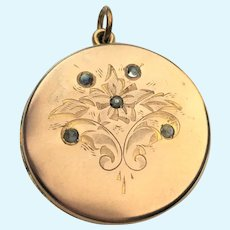 Victorian gold plated locket with moonstones