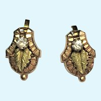 Victorian Revival tri-colored screw on earrings