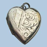 Vintage Sterling silver hand engraved heart locket