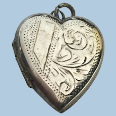 Vintage Sterling silver hand engraved heart locket