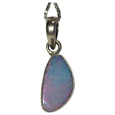 Vintage natural Australian Boulder opal in sterling silver with silver chain