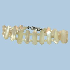Victorian revival mother of pearl wedding bracelet
