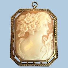 Victorian revival hand carved shell cameo in 10 kt gold brooch, or pendant