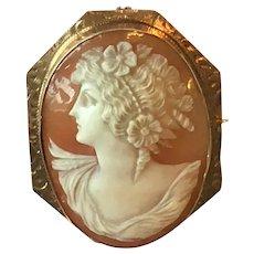Victorian Goddess Flora 10 kt cameo brooch,pendant