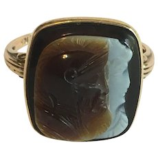 Vintage warrior and wife agate cameo ring