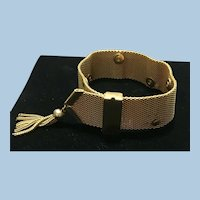 Victorian revival gold tone mesh tassel bracelet