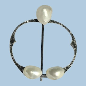 Vintage penannular pin of sterling silver , marcasites, and Mississippi pearls