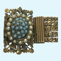 Victorian revival Turquoise and pearl bracelet