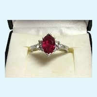 Custom made 1.40 ct natural untreated ruby with diamonds in sterling silver