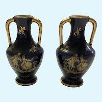 Vintage Limoges cobalt Fragonard vases. 2 1/4 inch tall