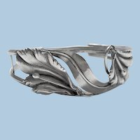 Vintage custom made ornate sterling silver cuff bangle