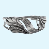 Vintage custom made ornate sterling silver cuff bangle