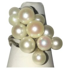 Vintage Mings Cultured pearl waterfall ring