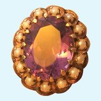 Vintage 18 karat gold Amethyst and pearl ring