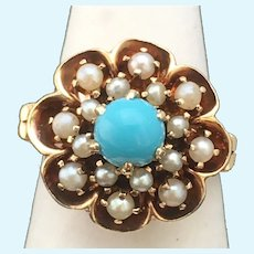 Vintage Turquoise and pearls 14 karat gold ring