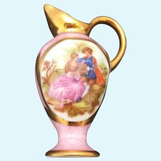 Limoges miniature rose colored water jug