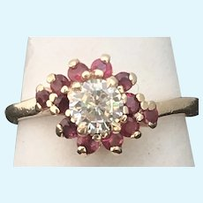 Vintage Diamond and ruby ring in 14 karat gold