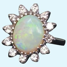 Vintage Opal and diamond ring in 14 karat white gold