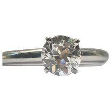 Antique European cut round diamond set in 14 karat white gold ring