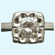 Vintage round diamond engagement ring in 14 kt white gold