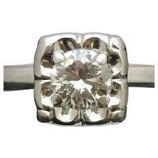 Vintage round diamond engagement ring in 14 kt white gold