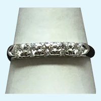 Vintage classic five diamond wedding band 14 karat white gold