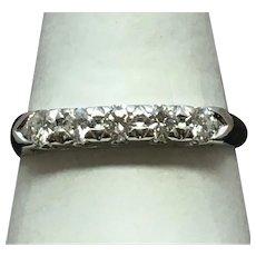 Vintage classic five diamond wedding band 14 karat white gold
