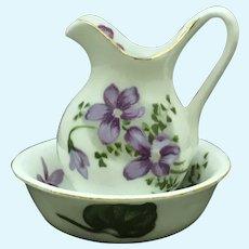 Vintage miniature wash basin and pitcher in fine bone china