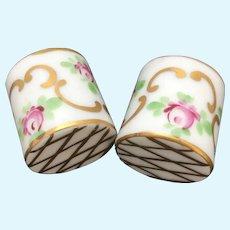 Vintage miniature handpainted porcelain planters, set of 2