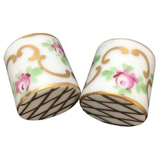 Vintage miniature handpainted porcelain planters, set of 2