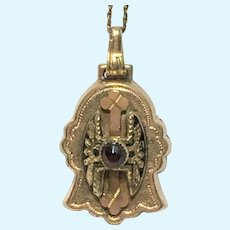 Victorian revival Bohemian garnet engraved pendant and chain