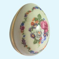 Limoges hand painted floral egg trinket box