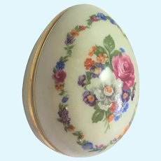 Limoges hand painted floral egg trinket box