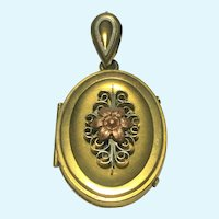 Victorian revival locket with a rose gold flower