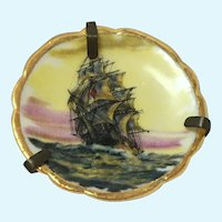 Vintage Bardet Limoges miniature hand painted sailing ship plate