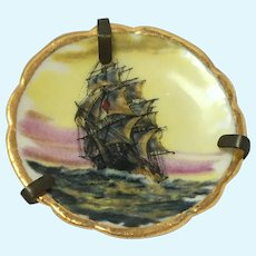 Vintage Bardet Limoges miniature hand painted sailing ship plate