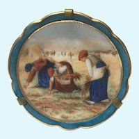 Vintage limoges hand painted farm worker miniature plate