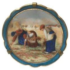 Vintage limoges hand painted farm worker miniature plate