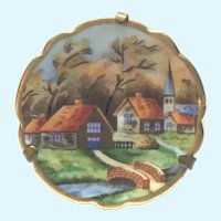 Vintage Limoges Hand painted village scene