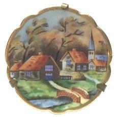 Vintage Limoges Hand painted village scene