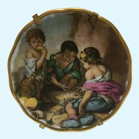 Vintage Limoges hand painted art mini platter 2.90 inches