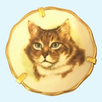 Vintage Limoges Miniature hand painted cat plate