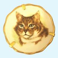 Vintage Limoges Miniature hand painted cat plate