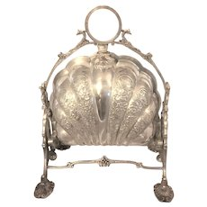 Victorian clamshell biscuit caddy by Fenton of Sheffield