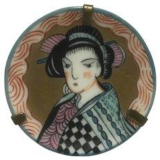 Vintage miniature Japanese lady portrait Limoges plate