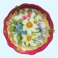Vintage Limoges hand painted flower miniature platter 2 inch