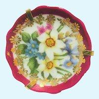 Vintage Limoges hand painted flower miniature platter 2 inch