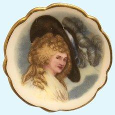 Vintage Limoges blonde lady portrait miniature plate
